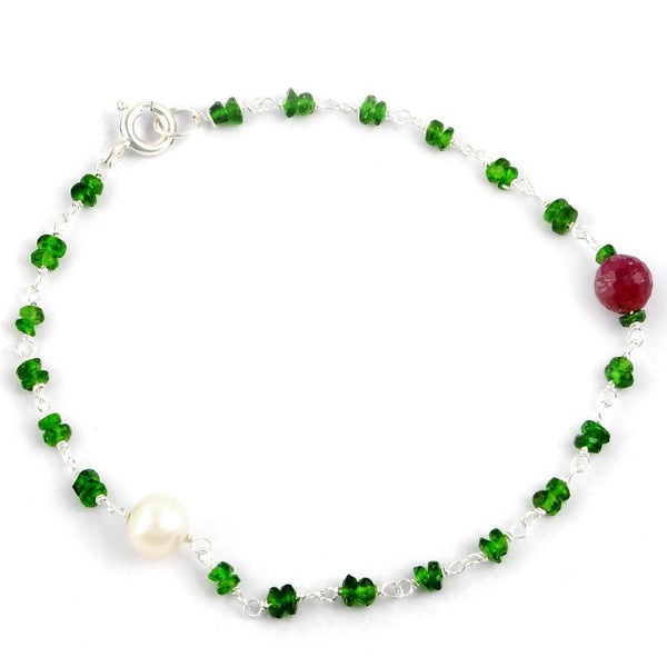 Orchid Jewelry 925 Sterling Silver 6.35 Carat Chrome Diopside, Ruby and Pearl Bracelet