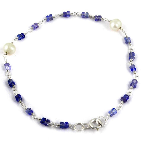 Orchid Jewelry 925 Sterling Silver 5.60 Carat Tanzanite and Pearl Bracelet