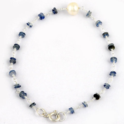 Orchid Jewelry 925 Sterling Silver 6.45 Carat Sapphire and Pearl Bracelet