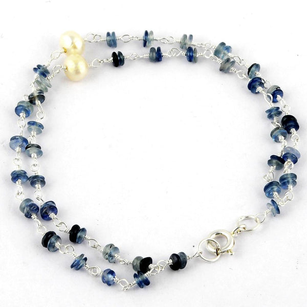 Orchid Jewelry 925 Sterling Silver 7.00 Carat Sapphire and Pearl Bracelet