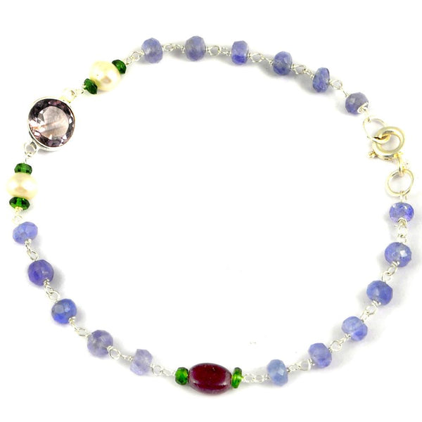 Orchid Jewelry 925 Sterling Silver 6.40 Carat Multi Gemstones and Pearl Bracelet