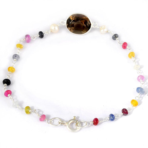 Orchid Jewelry 925 Sterling Silver 6.15 Carat Multi Sapphire, Quartz and Pearl Bracelet
