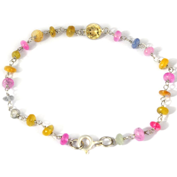 Orchid Jewelry 925 Sterling Silver 9.80 Carat Multi Sapphire and Citrine Bracelet