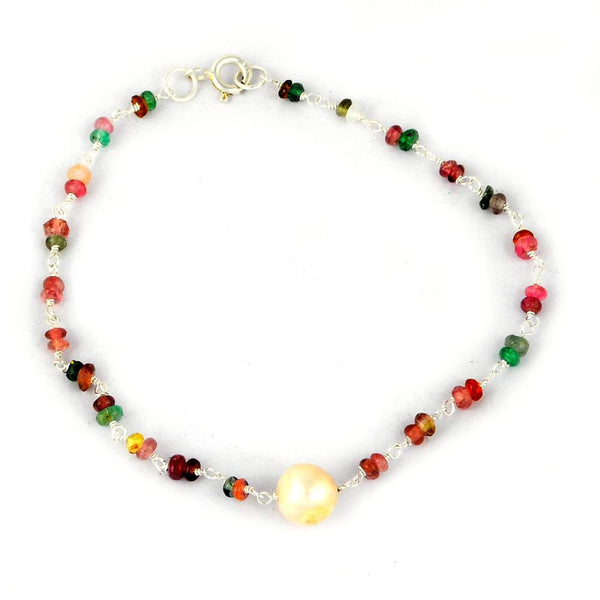 Orchid Jewelry 925 Sterling Silver 8.70 Carat Multi Sapphire and Pearl Bracelet