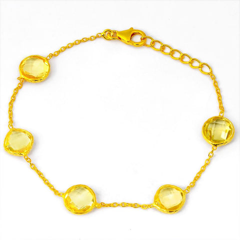 Orchid Jewelry 11.05 Carat Genuine Citrine 925 Sterling Silver Bracelet