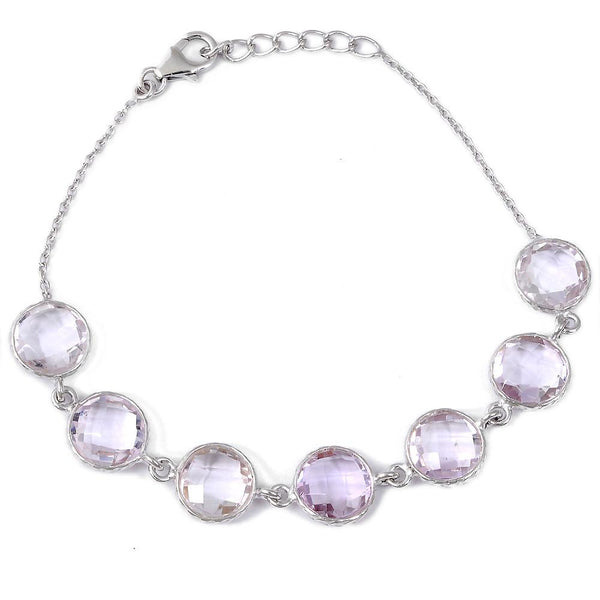 Orchid Jewelry 22.50 Carat Genuine Pink Amethyst 925 Sterling Silver Bracelet
