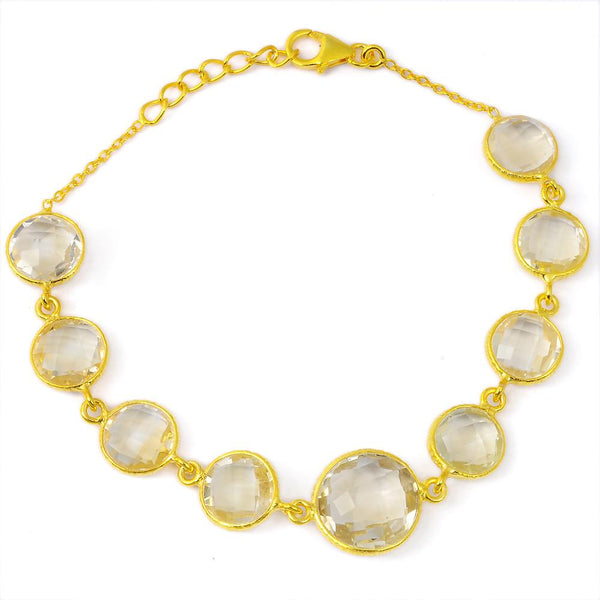 Orchid Jewelry 34.15 Carat Genuine Citrine Sterling Silver Bracelet With 14K Gold Plated