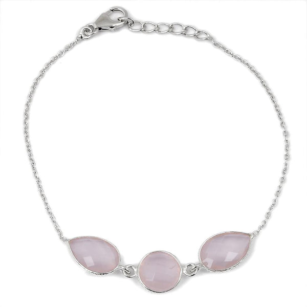 Orchid Jewelry 10.40 Carat Genuine Rose Quartz Sterling Silver Chain Bracelet