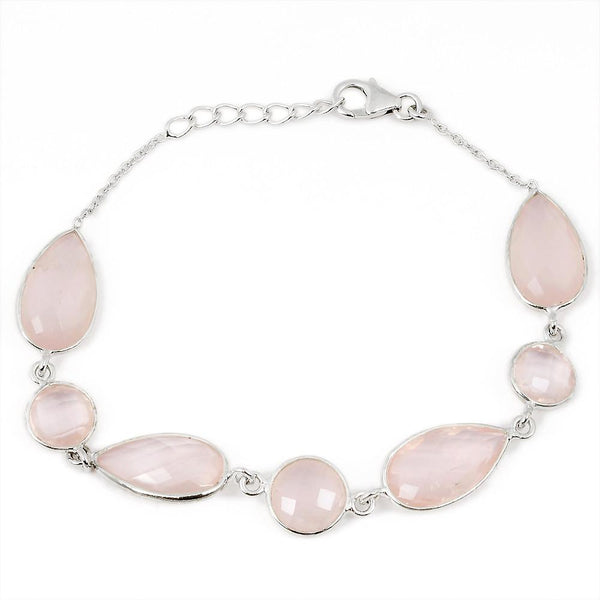 Orchid Jewelry 33.90 Carat Genuine Rose Quartz Sterling Silver Bracelet