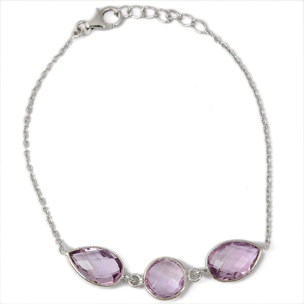 Orchid Jewelry Sterling Silver Bracelet With 10.00 Carat Genuine Pink Amethyst
