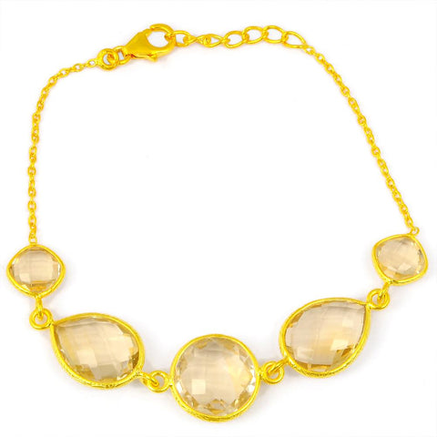 Orchid Jewelry 27.80 Carat Weight Genuine Citrine 925 Sterling Silver Bracelet With Gold Plated