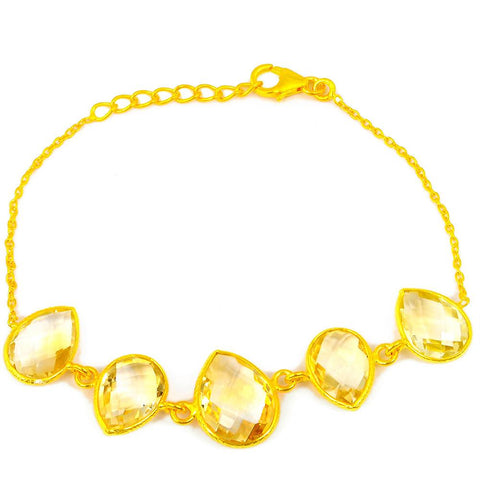 Orchid Jewelry 23.70 Carat Genuine Citrine 925 Sterling Silver Bracelet with Gold Plated