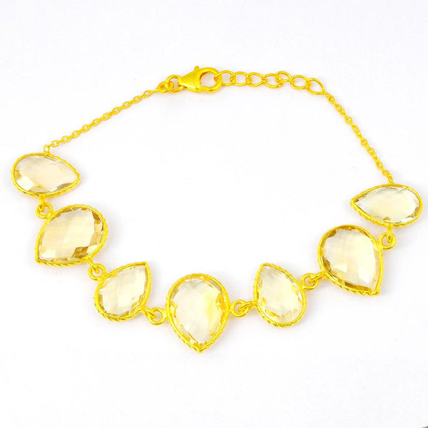 Orchid Jewelry 37.50 Carat Weight Genuine Citrine 925 Sterling Silver Bracelet with Gold Plated