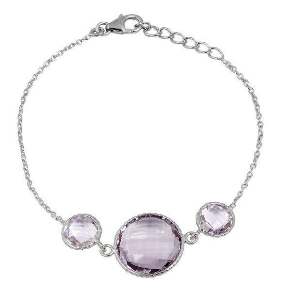 Orchid Jewelry 23.70 Carat Weight Genuine Pink Amethyst 925 Sterling Silver Bracelet