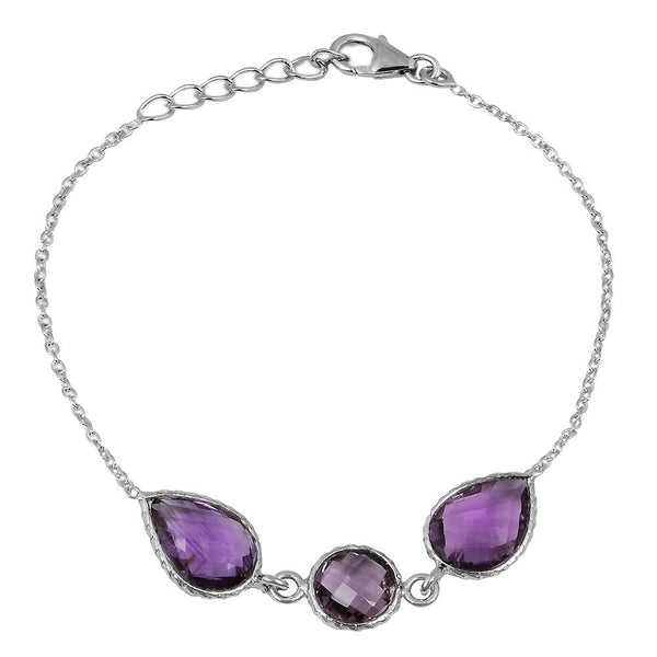 Orchid Jewelry 10.80 Carat Weight Genuine Amethyst 925 Sterling Silver Bracelet