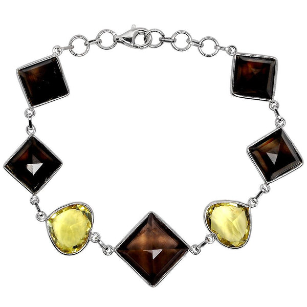 Orchid Jewelry 48.85 Carat Genuine Smoky & Lemon Quartz 925 Sterling Silver Bracelet