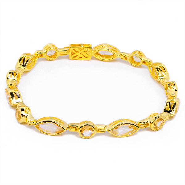 Orchid Jewelry 14.35 Carat Citrine 14K Yellow Gold Plated Bracelet in 925 Sterling Silver
