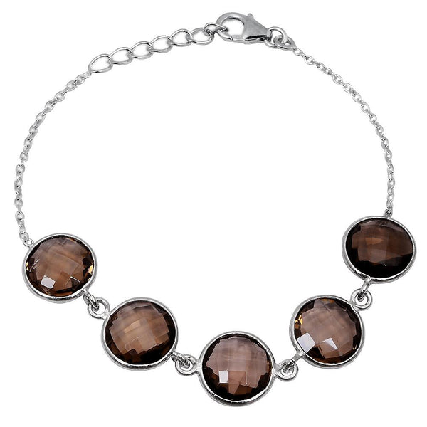 Orchid Jewelry 25.50 Carat Genuine Smoky Quartz Sterling Silver Bracelet