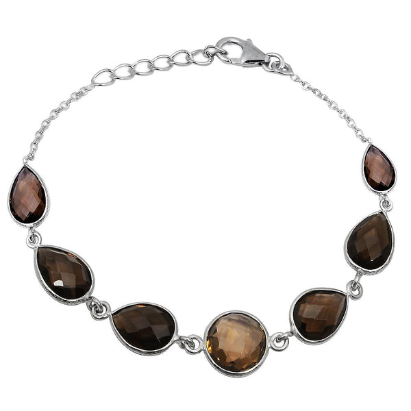 Orchid Jewelry 24.65 Carat Weight Genuine Smoky Quartz 925 Sterling Silver Bracelet
