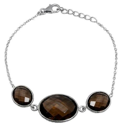 Orchid Jewelry 19.70 Carat Genuine Smoky Quartz Sterling Silver Bracelet