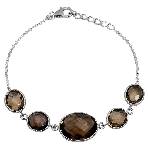 Orchid Jewelry 25.80 Carat Genuine Smoky Quartz Sterling Silver Bracelet