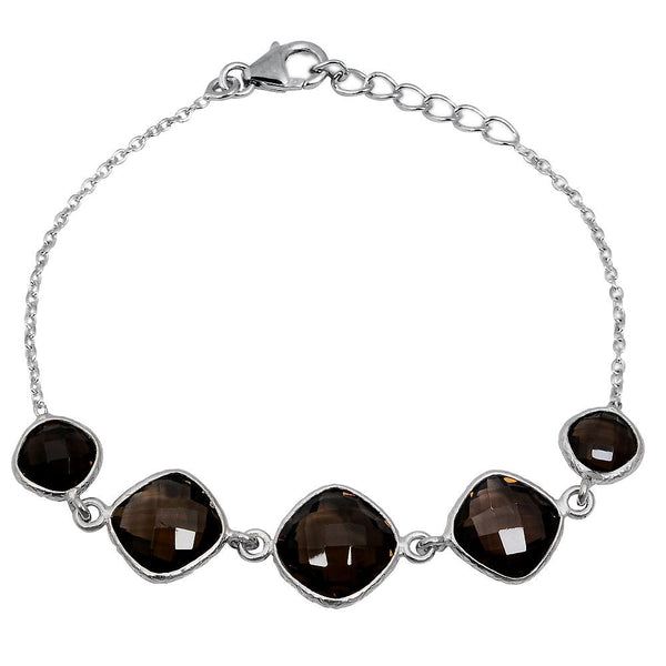 Orchid Jewelry 19.20 Carat Weight Genuine Smoky Quartz 925 Sterling Silver Bracelet