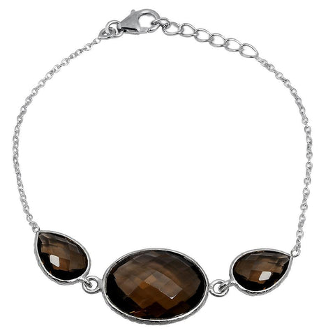 Orchid Jewelry 18.30 Carat Genuine Smoky Quartz Sterling Silver Bracelet