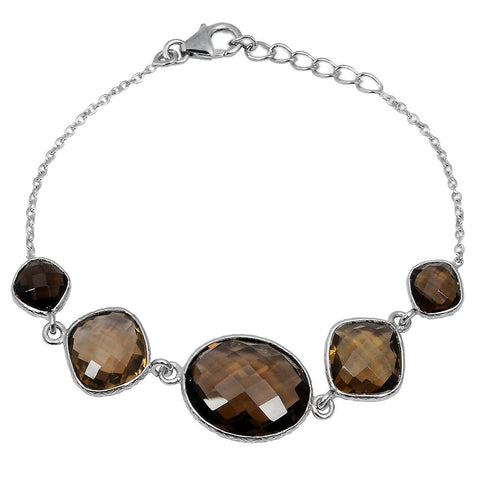 Orchid Jewelry 29.85 Carat Weight Genuine Smoky Quartz 925 Sterling Silver Bracelet