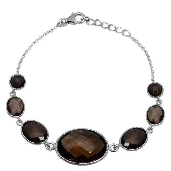 Orchid Jewelry 38.30 Carat Weight Genuine  Smoky Quartz 925 Sterling Silver Bracelet