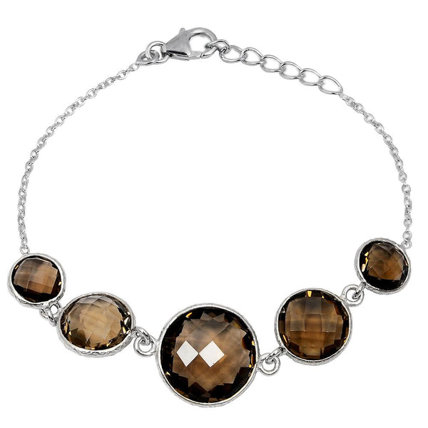 Orchid Jewelry 27.10 Carat Weight Genuine Smoky Quartz 925 Sterling Silver Bracelet