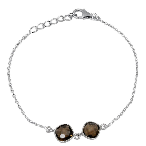 Orchid Jewelry 4.05 Carat Weight Genuine Smoky Quartz 925 Sterling Silver Bracelet