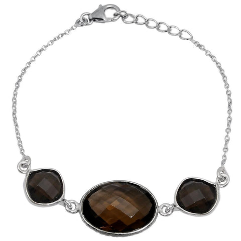 Orchid Jewelry 14.30 Carat Weight Genuine Smoky Quartz 925 Sterling Silver Bracelet