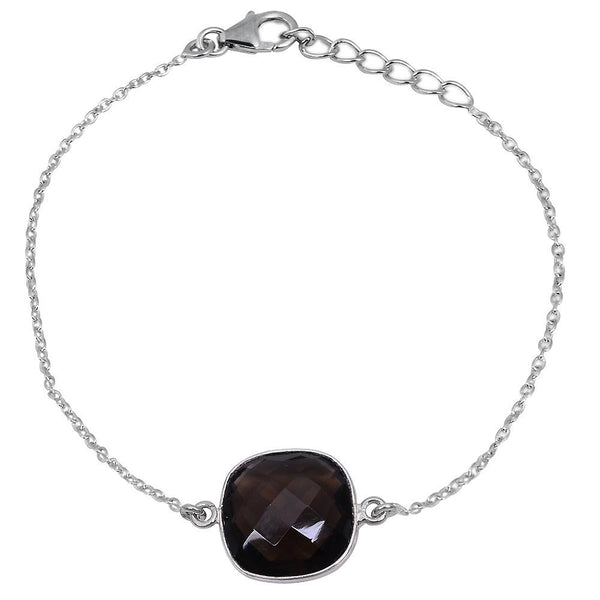Orchid Jewelry 9.30 Carat Genuine Smoky Quartz Sterling Silver Bracelet