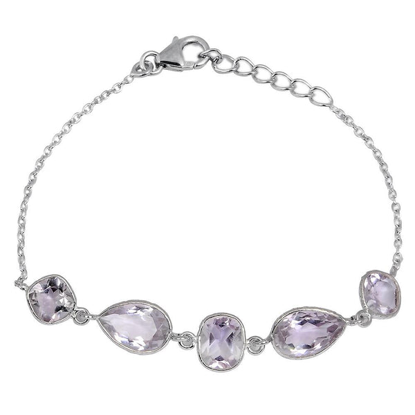 Orchid Jewelry 15.50 Carat Genuine Pink Amethyst Sterling Silver Bracelet