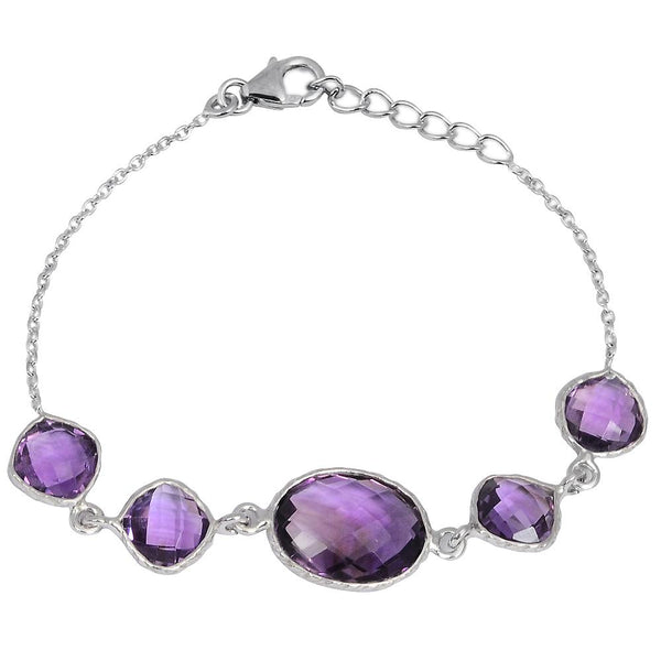 Orchid Jewelry 15.50 Carat Genuine Amethyst  925 Sterling Silver Chain Bracelet