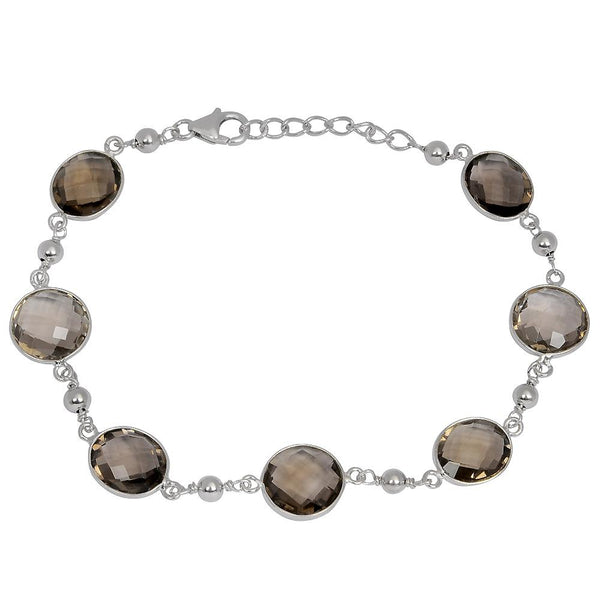 Orchid Jewelry 27.20 Carat Genuine Smoky Quartz 925 Sterling Silver Bracelet