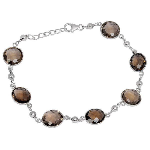 Orchid Jewelry 29.20 Carat Genuine Smoky Quartz Sterling Silver Bracelet