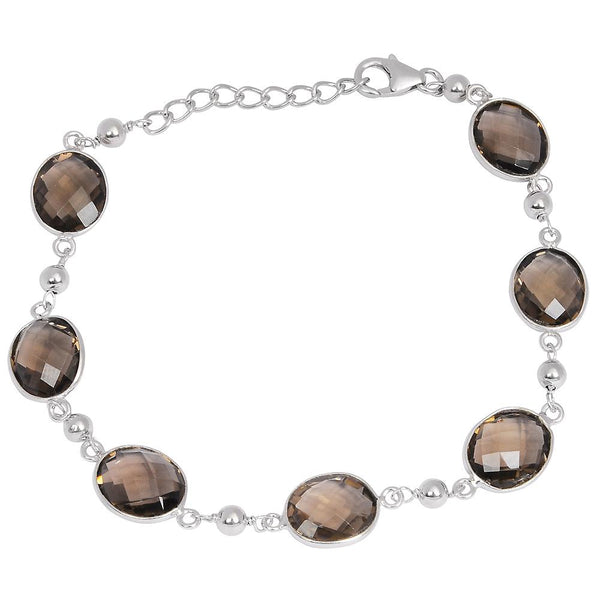 Orchid Jewelry 21.40 Carat Genuine Smoky Quartz  925 Sterling Silver Bracelet