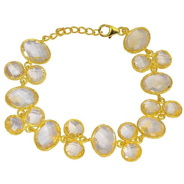 Orchid Jewelry 56.00 Carat Genuine Citrine  925 Sterling Silver Bracelet With 14k Gold Plated