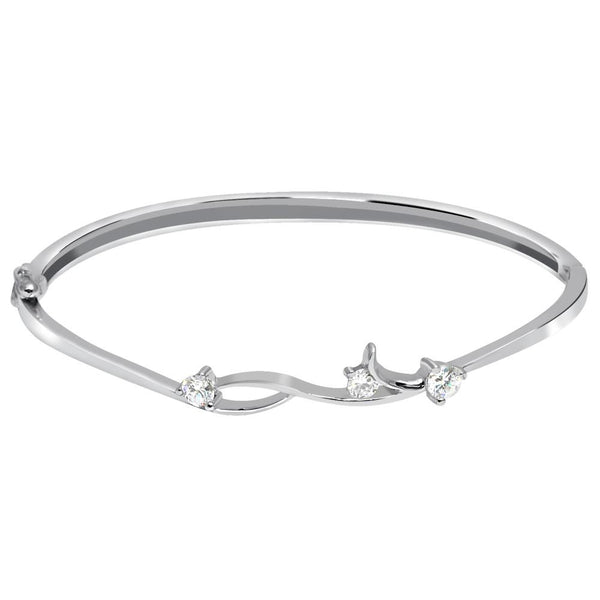 Orchid Jewelry 0.51 Carat Cubic Zirconia 925 Sterling Silver Bangle