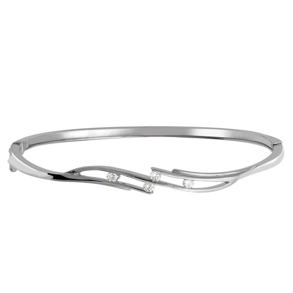 Orchid Jewelry 925 Sterling Silver 0.20 Carat Cubic Zirconia Bangle