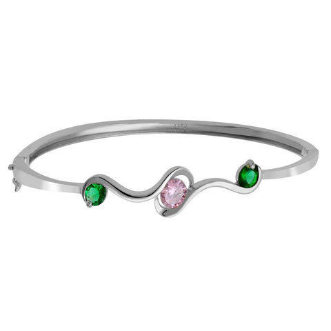 Orchid Jewelry 925 Sterling Silver 1.60 Carat Cubic Zirconia Bangle