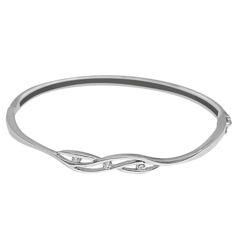 Orchid Jewelry 925 Sterling Silver 0.06 Carat Cubic Zirconia Bangle