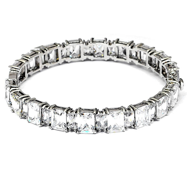 Orchid Jewelry 51.30 Carat Cubic Zirconia 925 Sterling Silver Bangle