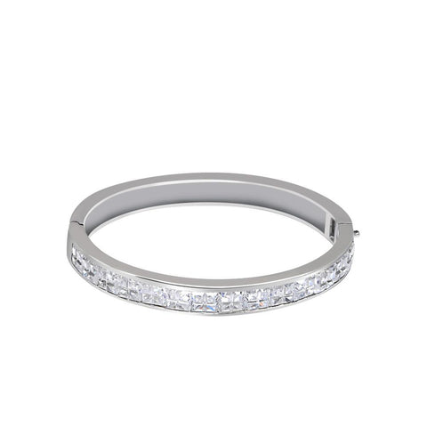 Orchid Jewelry 19.60 Carat Cubic Zirconia 925 Sterling Silver Bangle