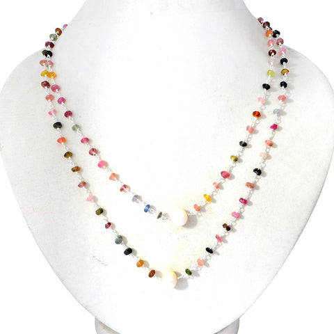 Orchid Jewelry 58.50 Carat  Multi Sapphire & Pearl Necklace In Sterling Silver