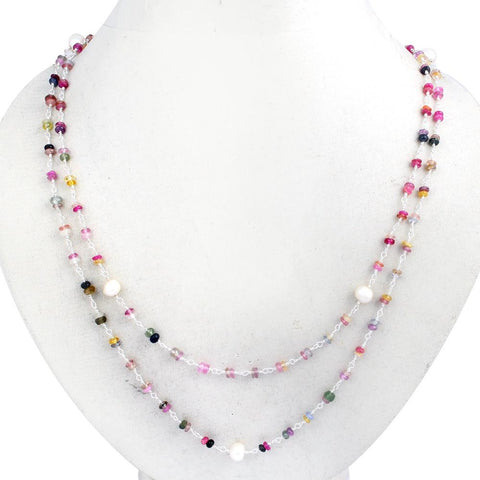 Orchid Jewelry 50.00 Carat Multi Sapphire & Pearl Necklace In 925 Silver