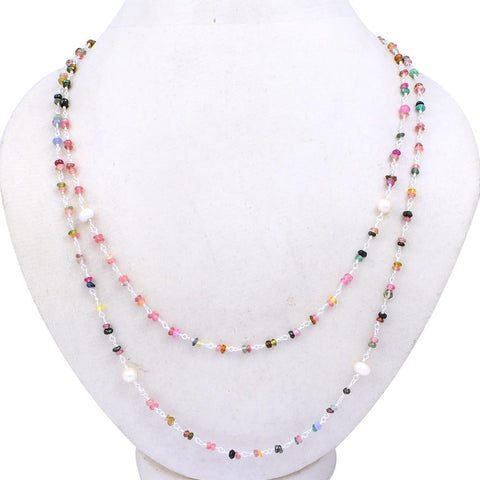 Orchid Jewelry 925 Sterling Silver 40.80 Carat Multi Sapphire & Pearl Necklace