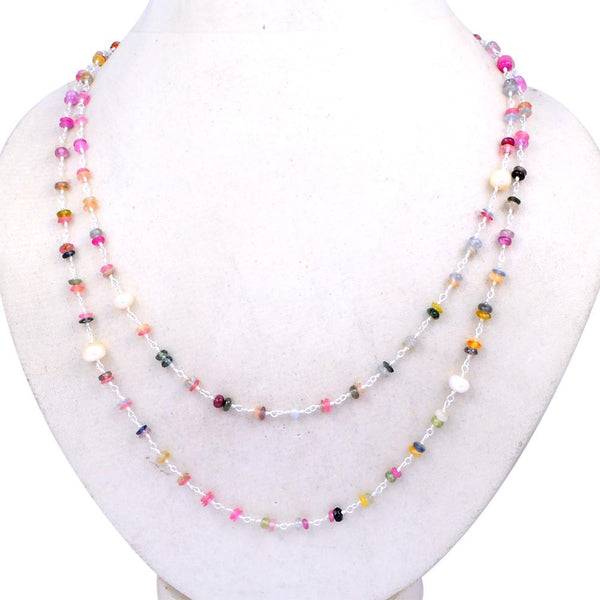 Orchid Jewelry Mom Collection 62.50 Carat Multi Sapphire & Pearl Necklace