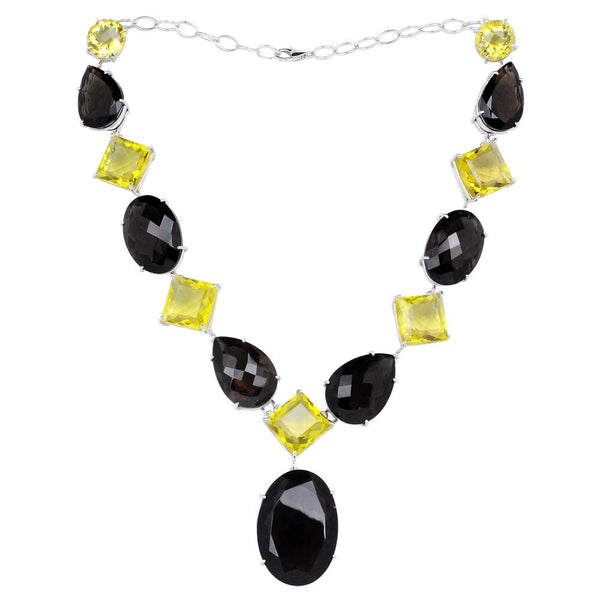 Jeweltique Designs 925 Sterling Silver Smoky Quartz & Lemon Quartz Necklace
